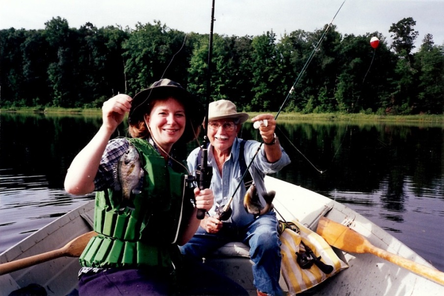 Laura Gauger and Roscoe fishing
